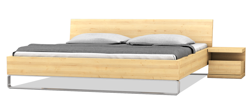 Massivholzbett mit einem Massivholznachttisch