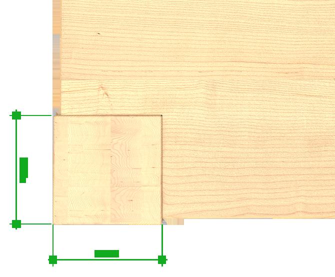 Beinquerschnitt eines Massivholzmöbel