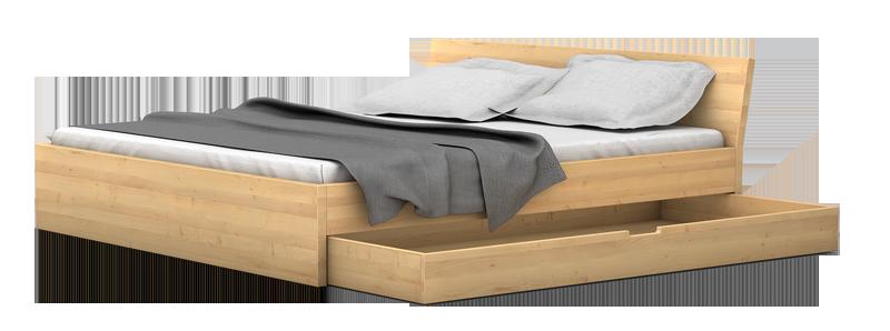 Massivholzbett mit Bettkasten
