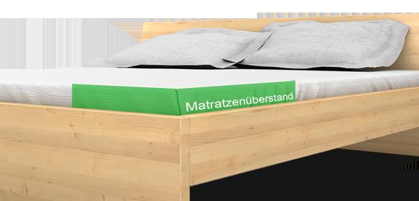 Matratzenüberstand eines Massivholzbett