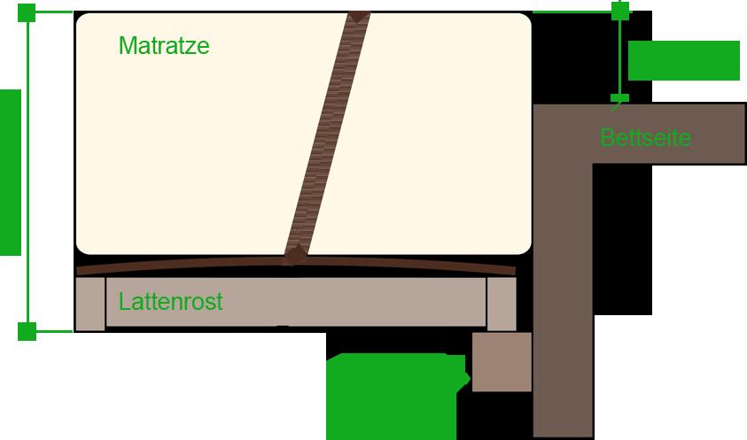 Bettsystemhöhe eines Massivholzbett
