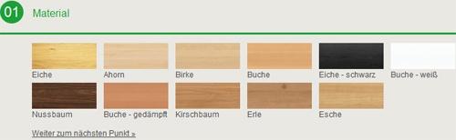 Material der Massivholzmöbel
