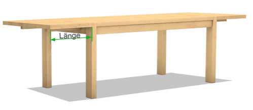 Massivholztisch mit Ansteckplatte