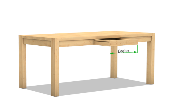 Massivholztisch mit Schublade