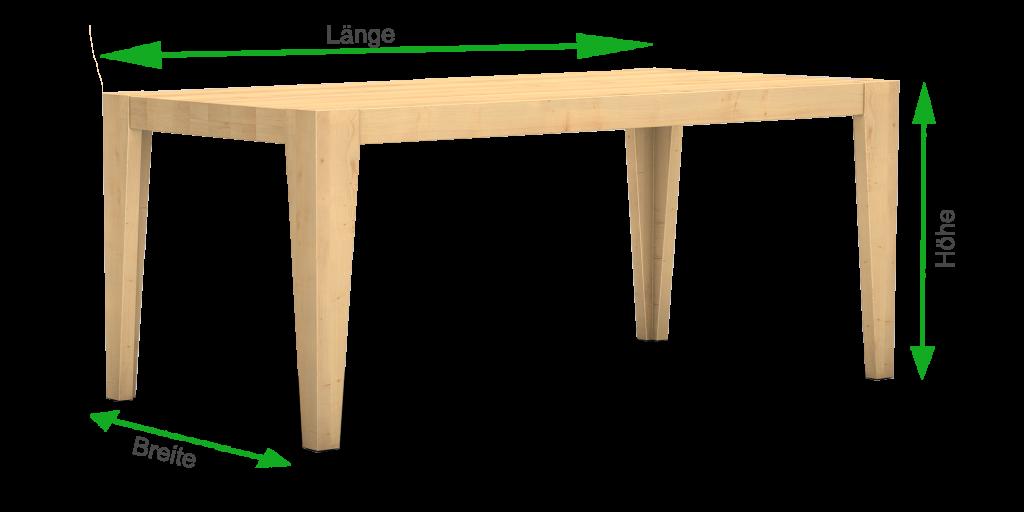 Maße eines Massivholztisch